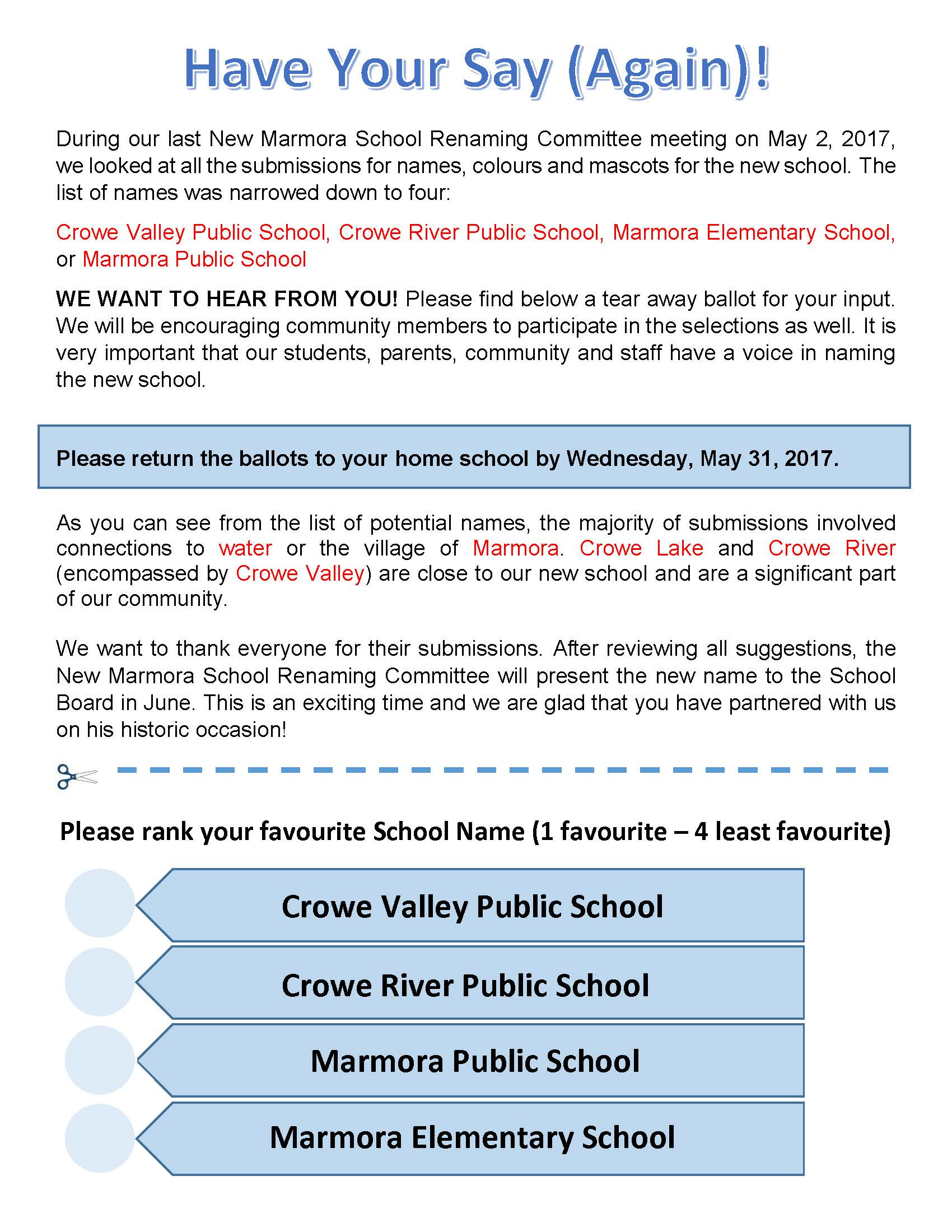 flyer to vote on name for the school