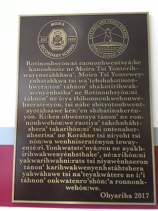 commemorative plaque in Mohawk