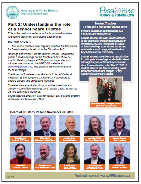 Understanding the role of a school board trustee, April 2018