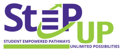 StEP UP graphic, purple and green