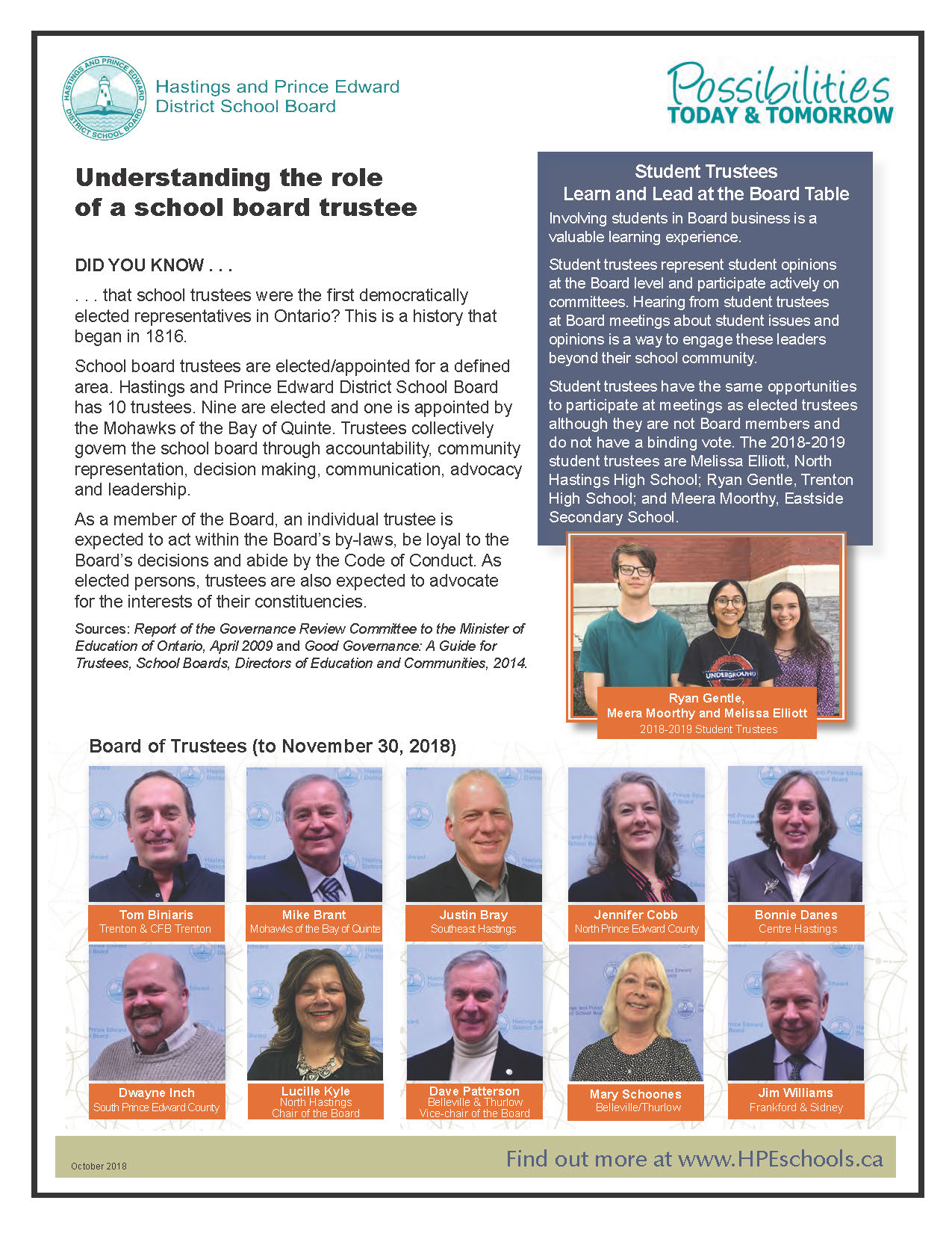 Understanding the role of a school board trustee, June 2018