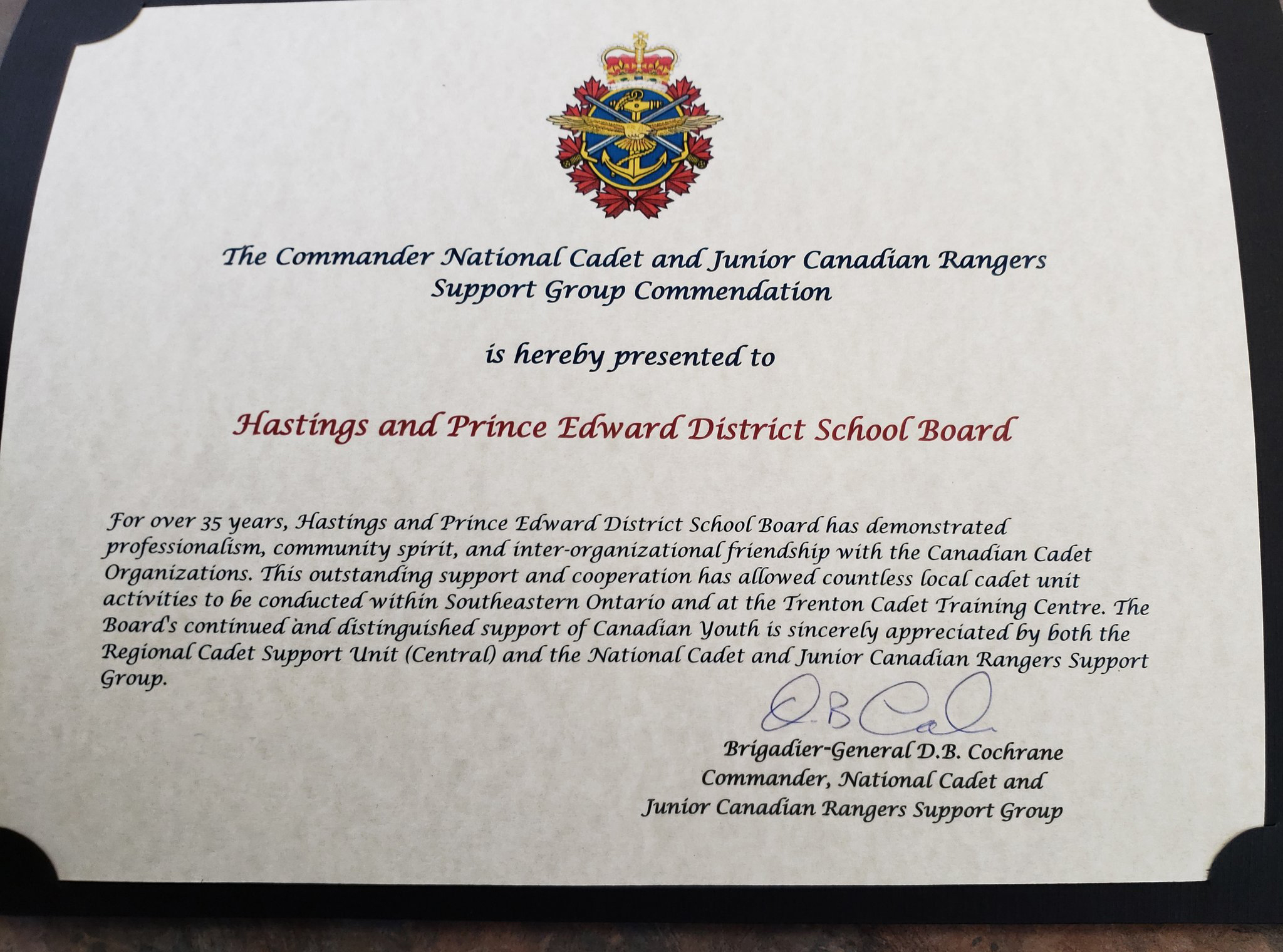 Commendation Certificate