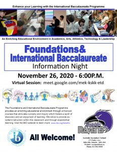 Foundations and IB information night poster