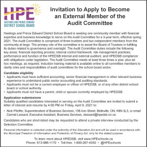 Invitation to apply for audit committee