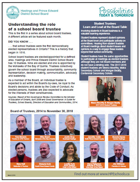 Understanding the role of a school board trustee, March 2018